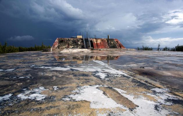 Un blockhaus sur l'atoll de Moruroa ©Gregory Boissy / AFP