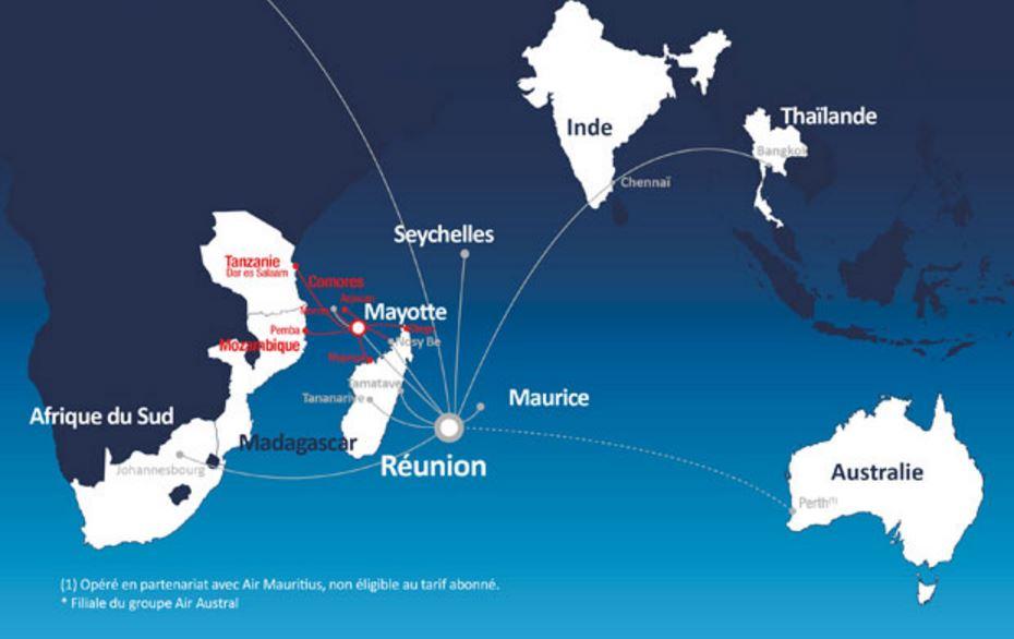 Avec ce nouvel arrêté, La Réunion peut se poser en hub entre l'Inde et le continent africain. A noter qu'Air Austral vient d'inaugurer des vols vers la Chine ©Air Austral
