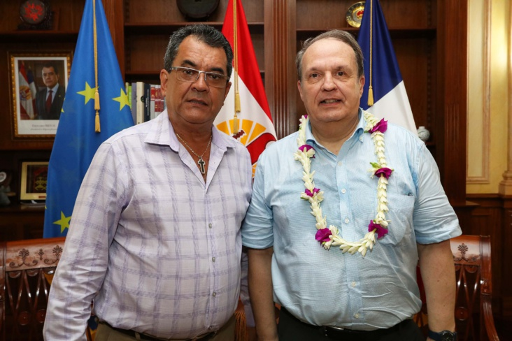Alain Christnacht a rencontré le Président de la Polynésie française ce lundi après-midi ©Présidence de la Polynésie française