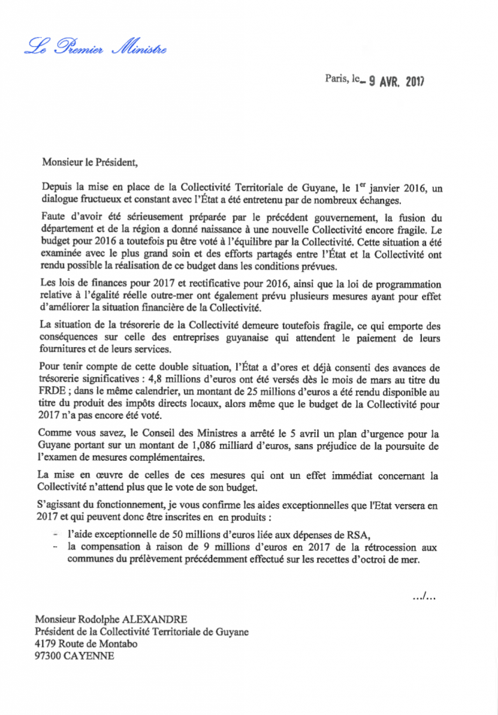 Lettre Cazeneuve/ Hollande