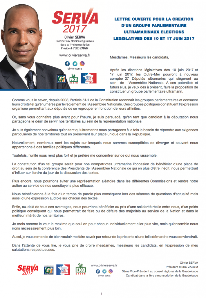 Lettre Olivier Serva- Création Groupe Parlementaire ultramarin