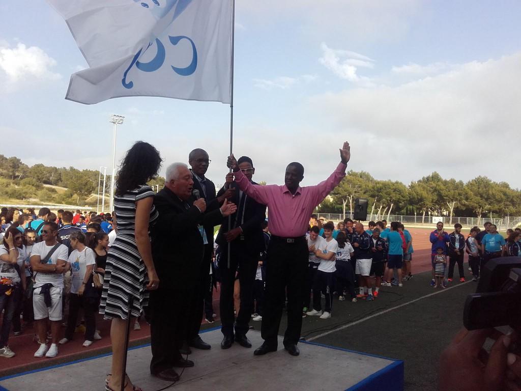 Cérémonie de passation de drapeau entre les Baléares et la Martinique en juin 2016