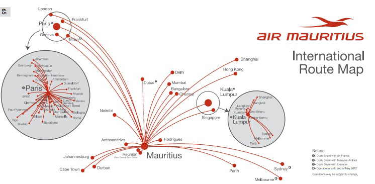 Les destinations desservies par Air Mauritius © World Airlines News