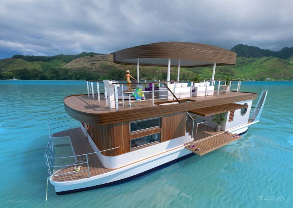 Concept du catamaran électrique présenté par Elyt Charter Tahiti ©Gouvernement de Polynésie française