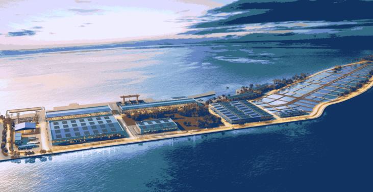 Image de synthèse du projet de ferme aquacole sur l'atoll de Hao ©DR