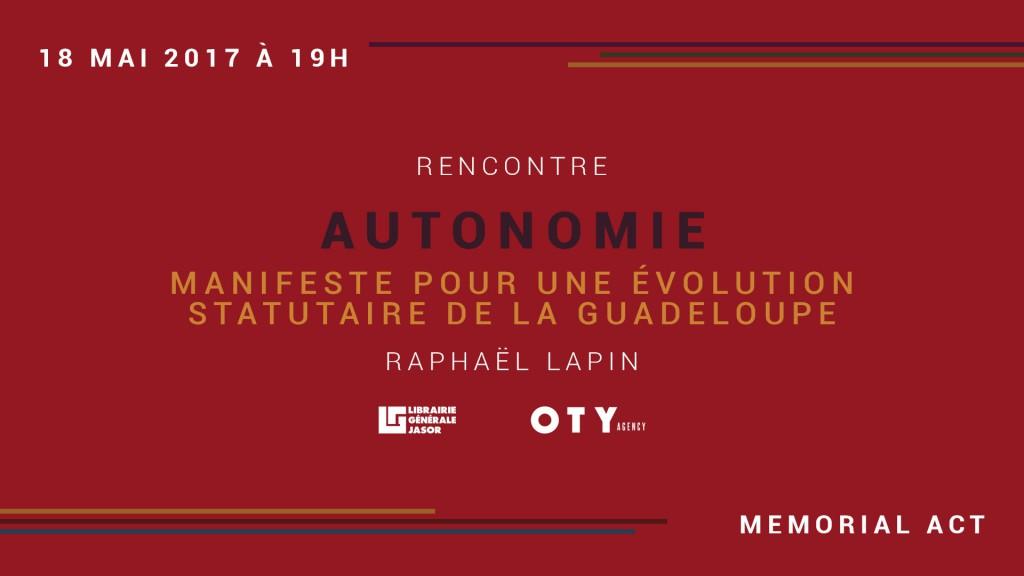 Attaché aux symboles, le jeune universitaire tient un événement de lancement le 18 mai prochain, au cœur du MemorialActe à partir de 19h. La rencontre se déroulera sous la forme d'un débat en présence de Axelle Kaulanjan et d'universitaires guadeloupéens dont Didier Destouches et Pierre-Yves CHICOT. ,