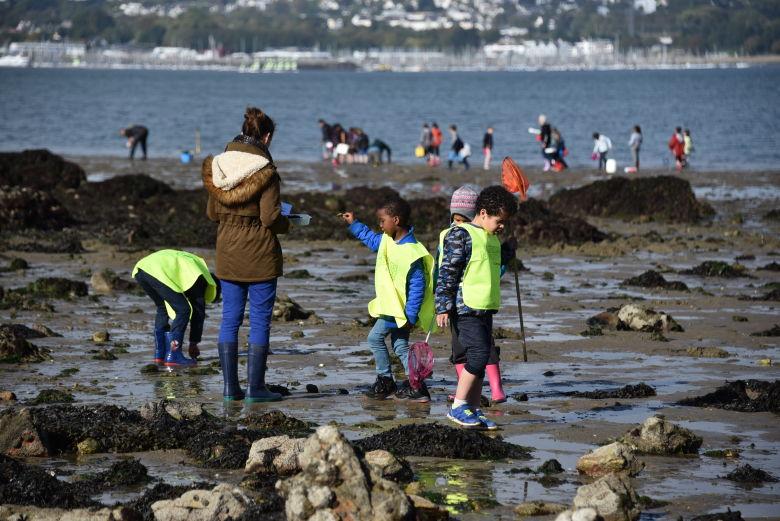 A l'issue de plusieurs sorties sur le terrain, les enfants du Forestou, ecole retenue dans le projet d'aire marine educative (AME), definiront les enjeux et les priorites de leur petite zone littorale. Ils decideront ensuite d'actions pour gerer les dechets, preserver la biodiversite, mettre en valeur… ©Yann Souche / Agence française pour la Biodiversité