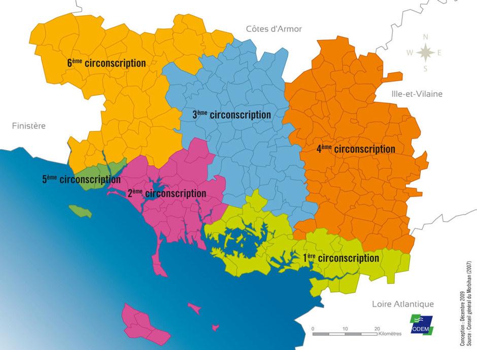 Les 5 circonscriptions du Morbihan ©DR