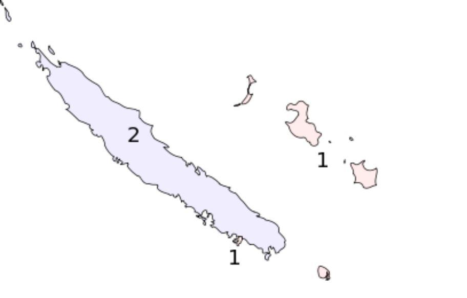 L'actuel découpage électoral des ciscronscriptions calédoniennes: Nouméa et les îles Loyauté forment la 1ère circonscription et la Grande terre forme la seconde ©DR