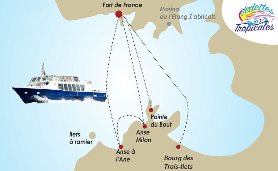 Les liaisons maritimes opérées par une des compagnies de Martinique © DR