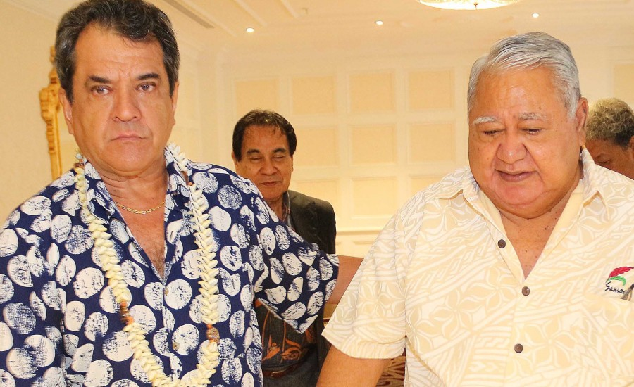 Sailele Malielegaoi, Premier ministre des Samoa, reçu par Edouard Fritch à Papeete ©Présidence de la Polynésie française