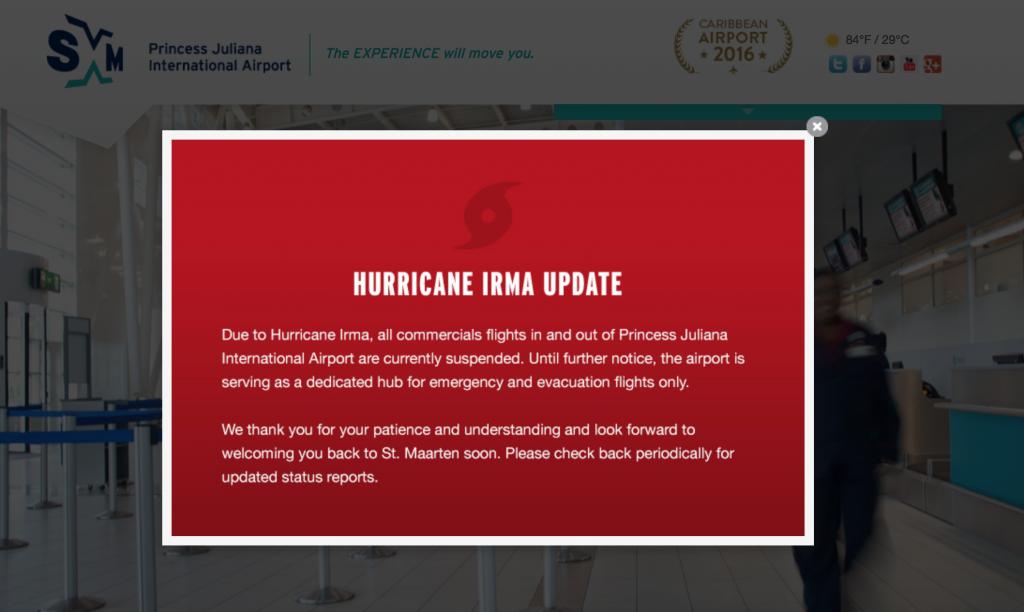 Capture d'écran de la page d'accueil du site de l'Aéroport de Juliana (Sint-Maarteen)