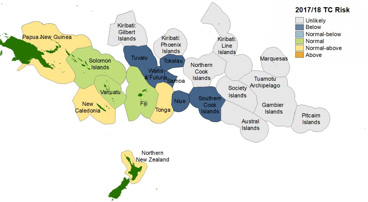 """En Nouvelle-Zélande, le risque cyclonique est estimé """"normal ou au-dessus de la normale"""" ©NIWA"""