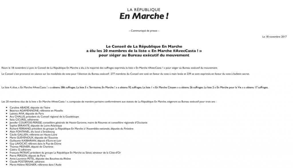 Communiqué de la République en Marche