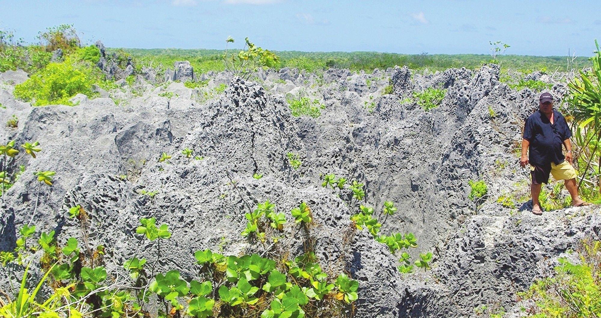 Vestiges de l'exploitation de phosphate sur Makatea ©Sandrine Lecomte / La Dépêche de Tahiti