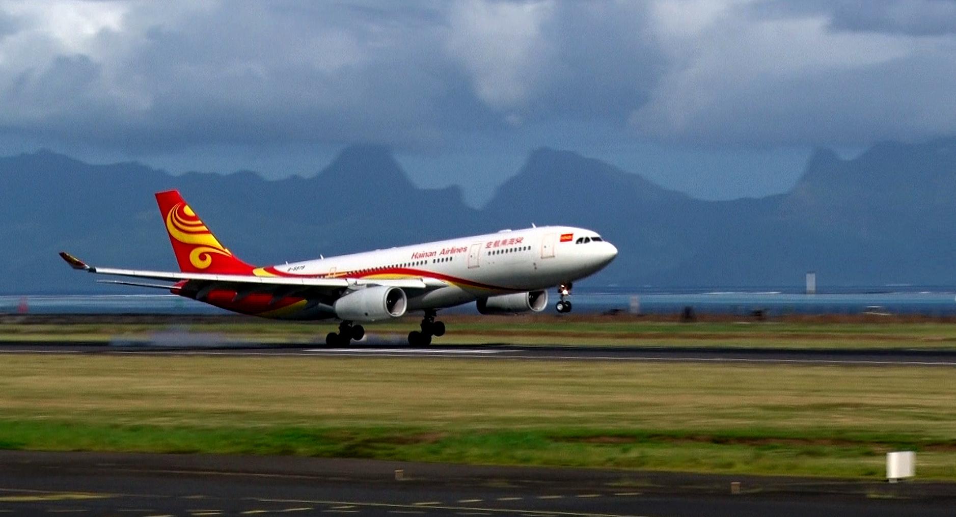 La compagnie chinoise Hainan Airlines s'est posée pour la première fois en Polynésie le 21 octobre dernier ©TNTV