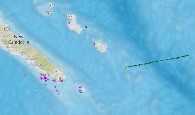 Le navire s'est échoué à l'Est des îles Loyauté, sur le récif Durand ©Capture