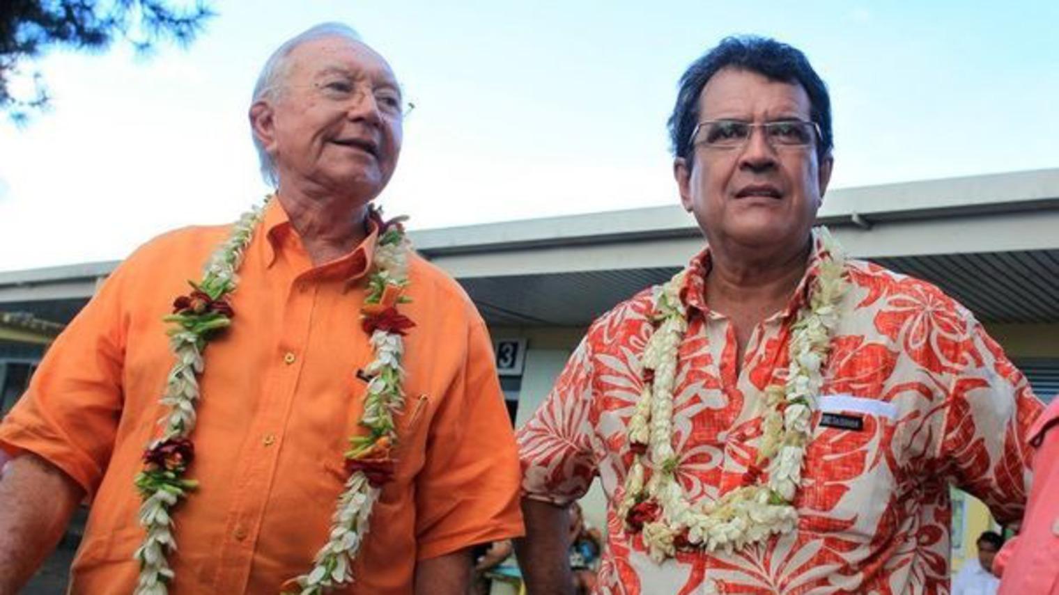 Gaston Flosse et Edouard Fritch, ancien numéro 2 du Tahoeraa Huira'atira. LEs relations entre les deux hommes se dégradent à partir de septembre 2014 ©Gregory Boissy / AFP