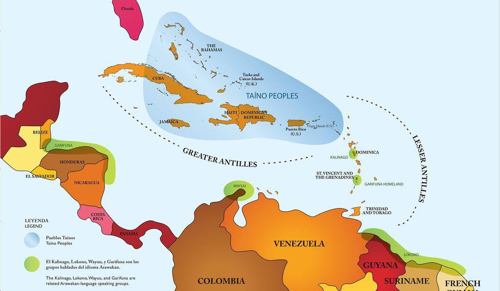 Les linguistes puis les archéologues du 19ème siècle ont utilisé Taíno pour regrouper les différents peuples parlant arawak dans les Grandes Antilles ©Carte créée par Smithsonian Exhibits, 2017