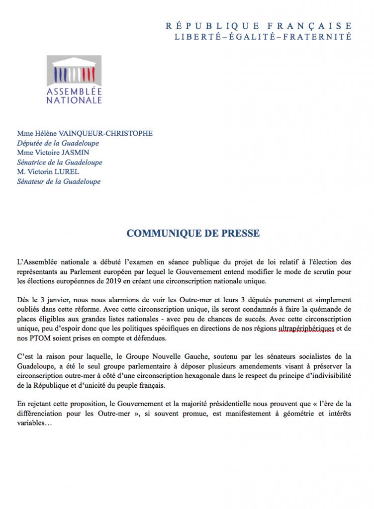 Communiqué commun des parlementaires Nouvelle Gauche