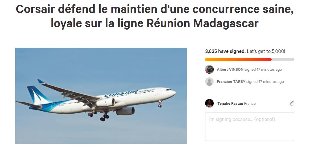 Pour contester la non reconduction de ses droits de trafic sur Madagascar, Corsair a lancé une pétition en ligne