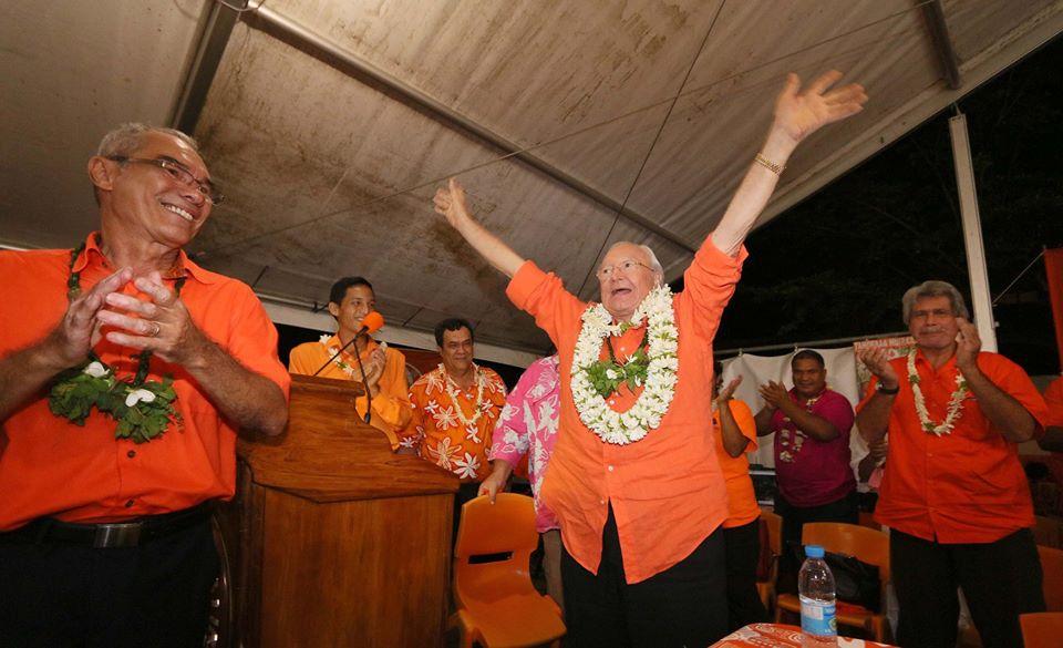 En 2018 et malgré sa peine d'inéligibilité, Gaston Flosse prouve encore son influence sur l'électorat ©Facebook /Tahoera'a Huira'atira