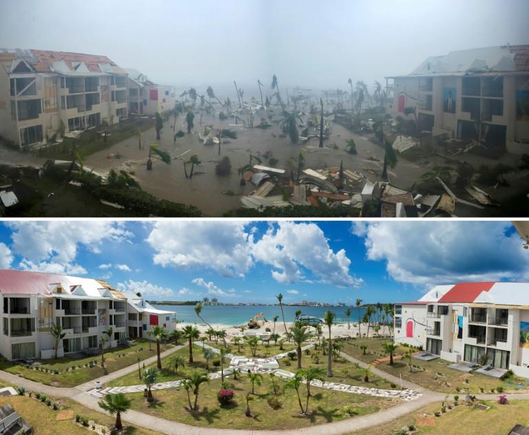 Photos de l'hôtel Mercure de l'île de St-Martin dans la baie Nettlé à Marigot, dans les Caraïbes, après le passage de l'ouragan Irma le 6 septembre 2017 et après sa reconstruction partielle le 28 février 2018 ©Lionel Chamoiseau / AFP