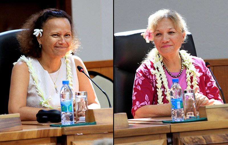 Deux femmes font leur entrée dans l'équipe gouvernementale: Christelle Lehartel et Isabelle Sachet ©Nicolas Perez / Radio 1 Tahiti