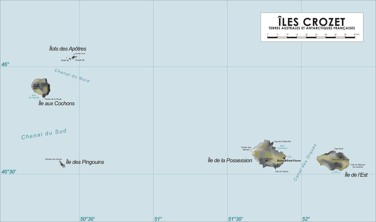 L'île aux cochons, archipel des Crozet. Situé dans les TAAF, l'archipel se situe à 2 860 km au sud de La Réunion, dans l'océan austral