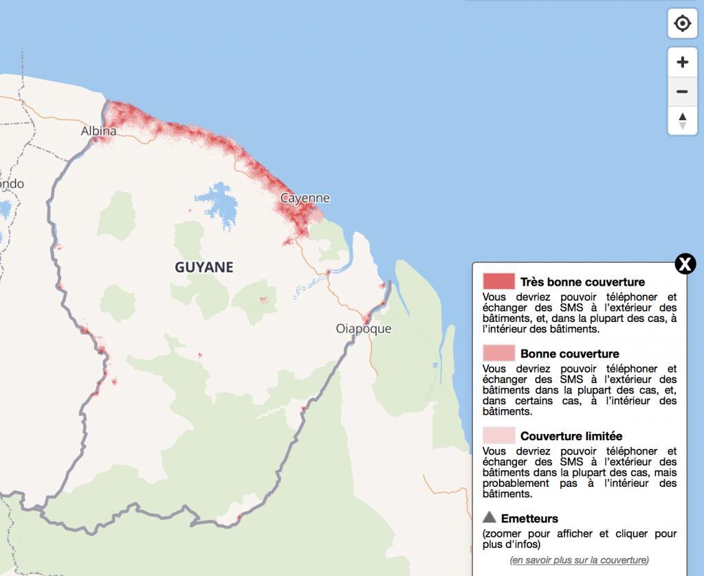 Exemple de la couverture mobile en Guyane ©MonRéseauMobile