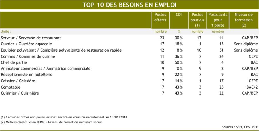 Top 10 des besoins en emplois ©ISPF
