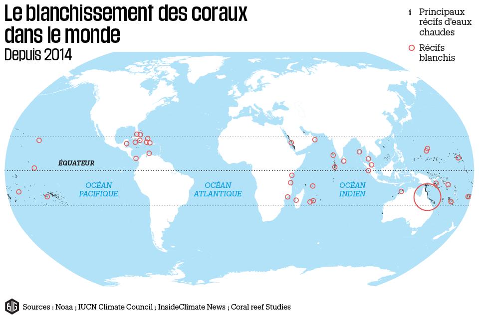 Carte du blanchissement des coraux depuis 2014