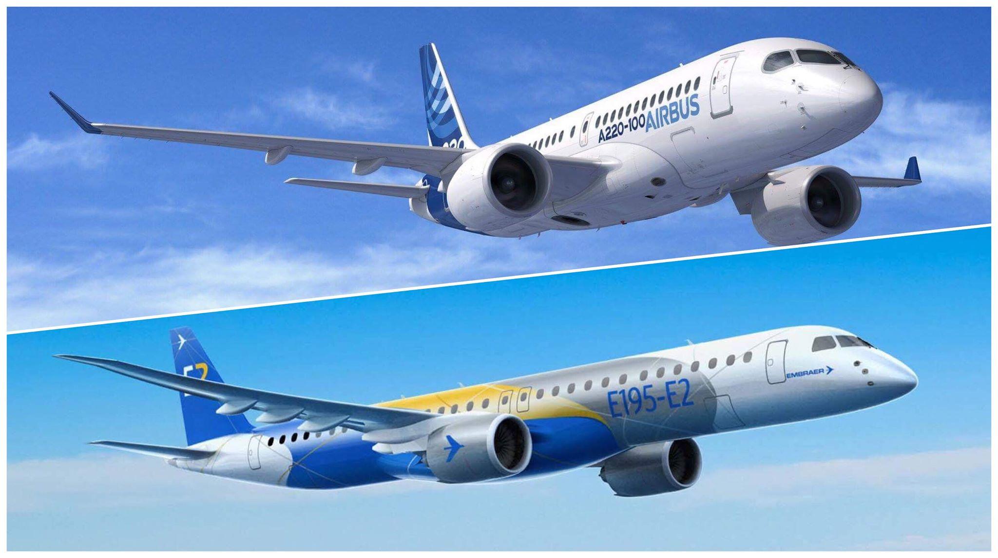 Le PDG d'Air Tahiti envisage d'acquérir, d'ici deux ou trois ans, un Airbus A220-100 ou un Embraer 195-E2 ©Airbus / Embraer