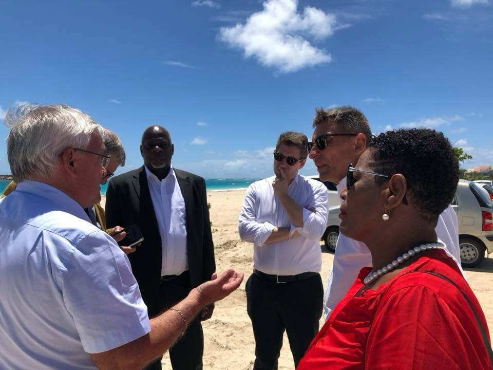 Visite de la mission sénatoriale sur les risques naturels majeurs en Outre-mer avec Victoire Jasmin, Michel Magras, Matthieu Darnaud et Guillaume Arnell © DR