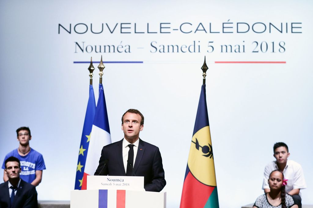 Emmanuel Macron le 5 mai dernier, lors de son discours au Théâtre de Nouméa ©Bestimage