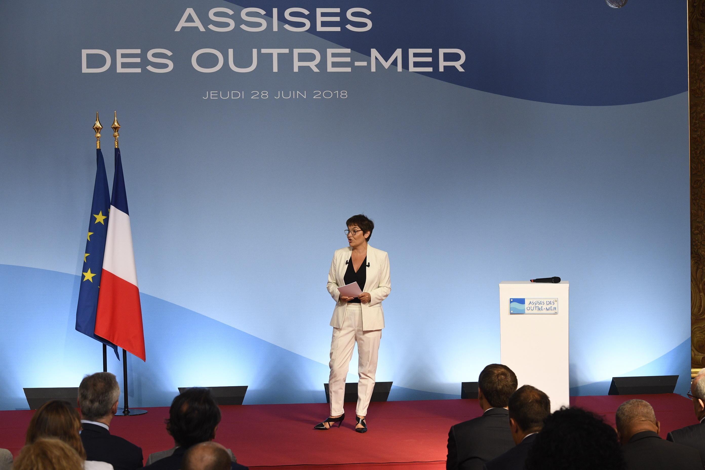 Annick Girardin le 28 juin dernier, lors de la présentation du Livre bleu Outre-mer à l'Elysée ©Capture