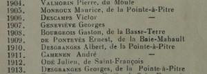 Noms de récipendiaires du Prix du Gouverneur © Facebook Lycée Carnot 971