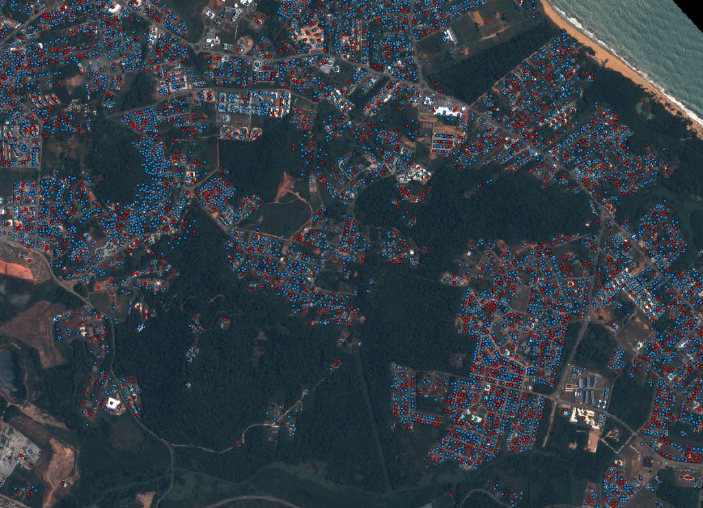 Modèle de présence de moustiques adultes en milieu urbain issue du projet DETECT. Image: Pléiades du 12/09/2012, , distribution Astrium DS. Crédit : CNES