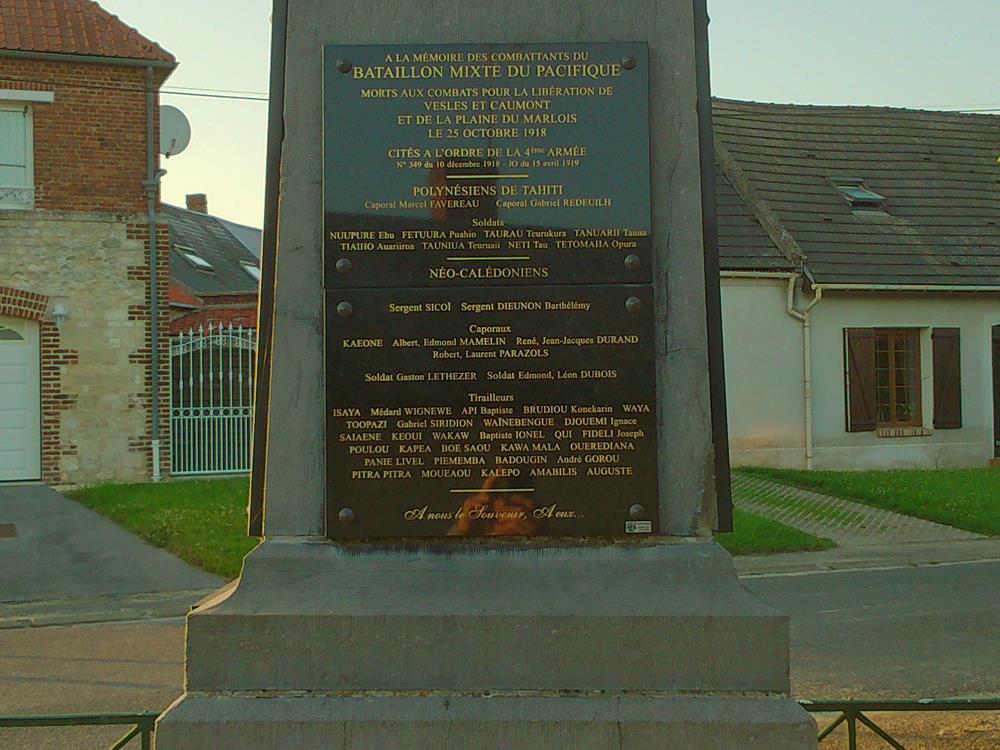 Monument consacré au Bataillon du Pacifique en Vesles-et-Caumont