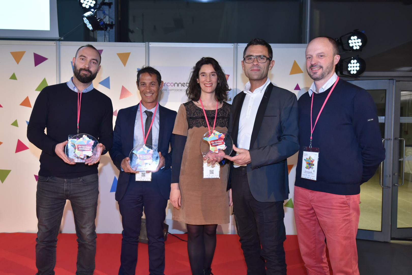 Éric Caro et les autres lauréats dans la catégorie « Construire les villes de demain » ©Nicolas Rodet / TCO