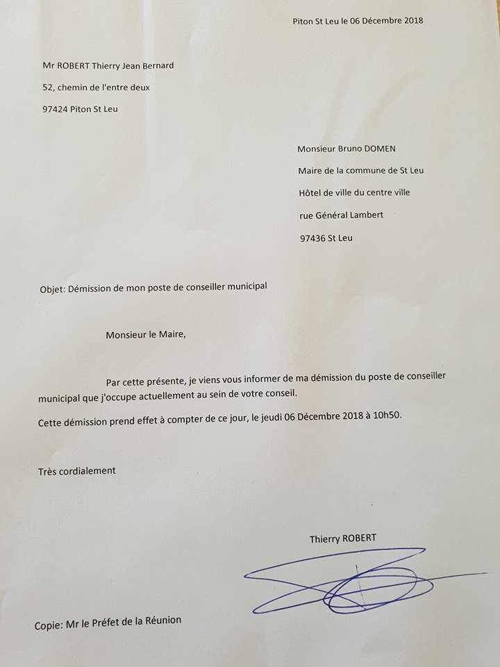 Il a adressé sa lettre de démission au maire de Saint-Leu Bruno Domen, en copie au préfet Amaury de Saint-Quentin, ce jeudi matin © Facebook Thierry Robert