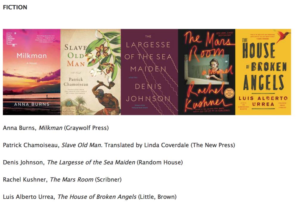 Les finalistes de la catégorie fiction des Na © Book Critics