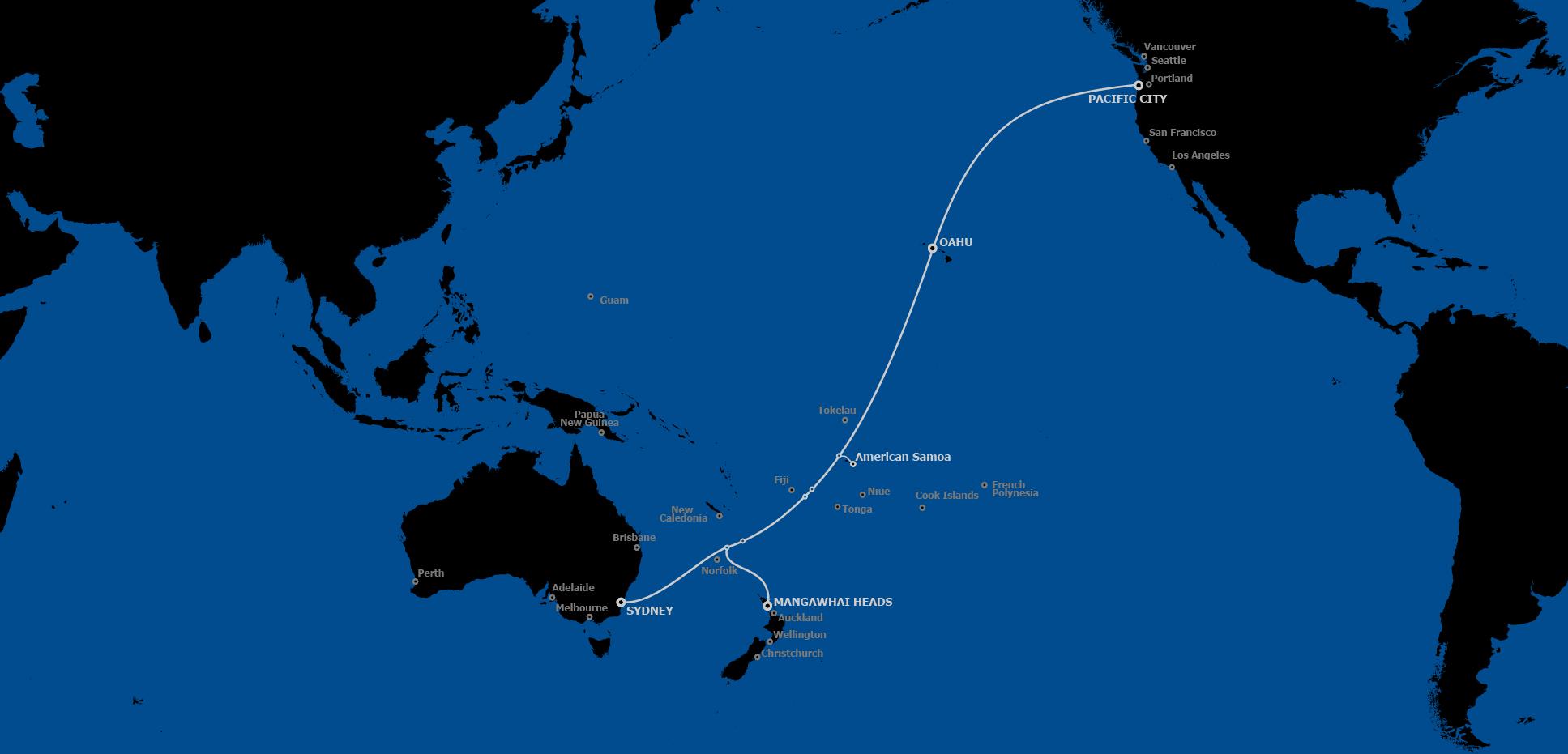 Un grand projet de câble est en cours dans le Pacifique sud, reliant la Nouvelle-Zélande et l'Australie aux États-Unis en passant par Hawaii. Plusieurs États et territoires du Pacifique y seront raccordées par d'autre câbles