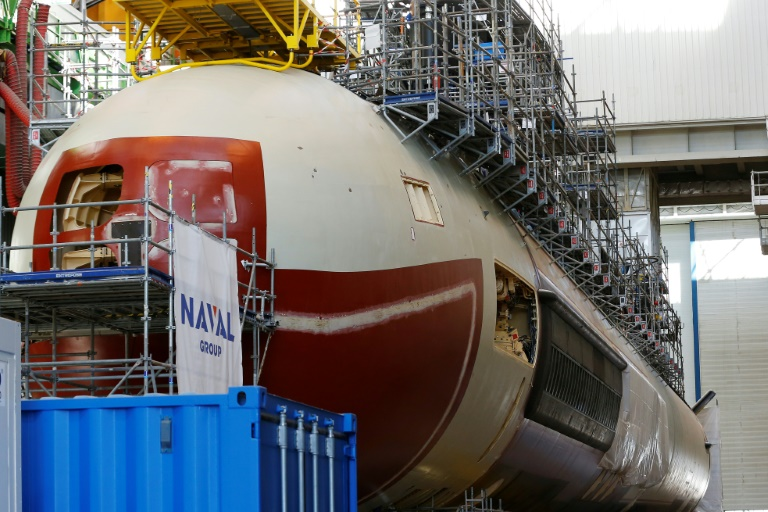 Un sous-marin de classe Barracuda, à Cherbourg-Octeville (France) ©Charly Triballeau / AFP