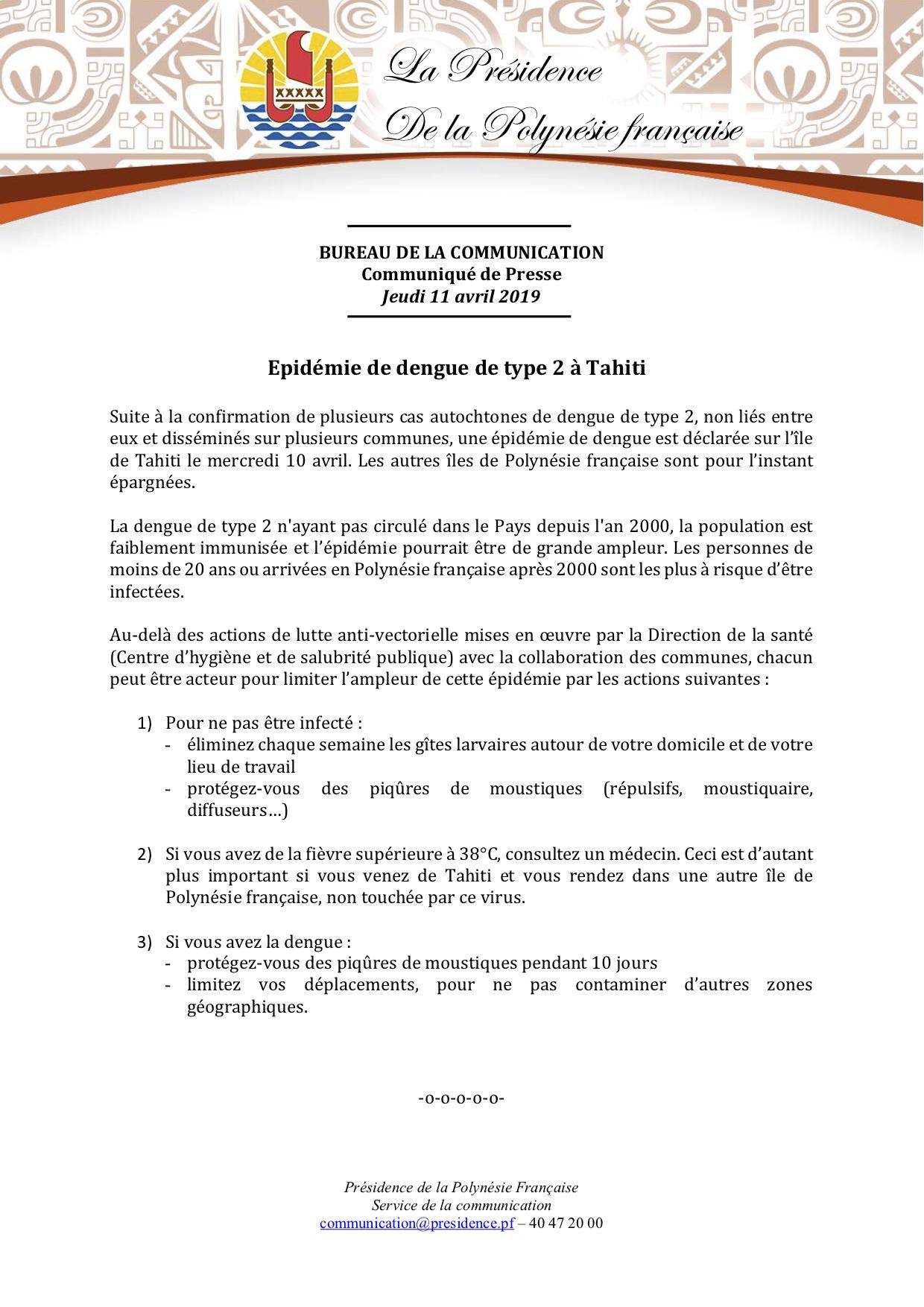 Communiqué - Ministère de la Santé - Epidémie dengue type 2