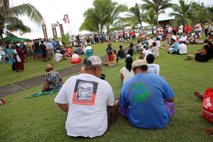 Cérémonie devant le Mémorial des victimes des essais nucléaires à Papeete, le 2 juillet 2014, à l'occasion des 50 ans du 1er tir nucléaire en Polynésie ©Archives AFP