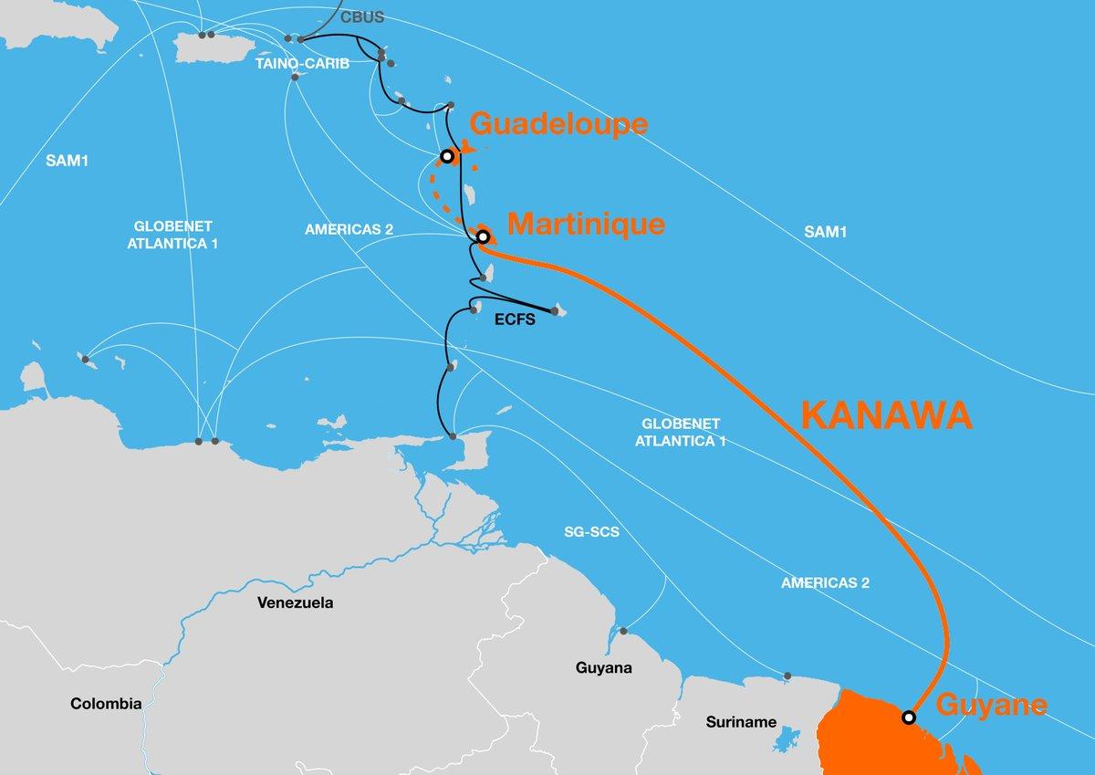 Le tracé du câble Kanawa ©Orange
