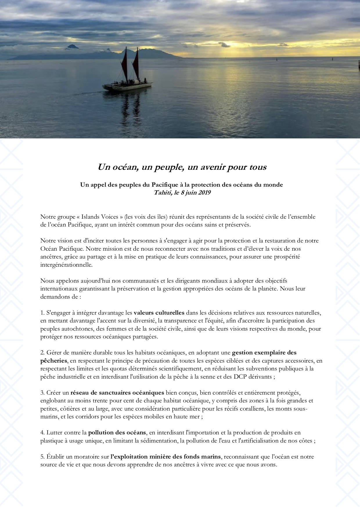 Islands Voices Message FR