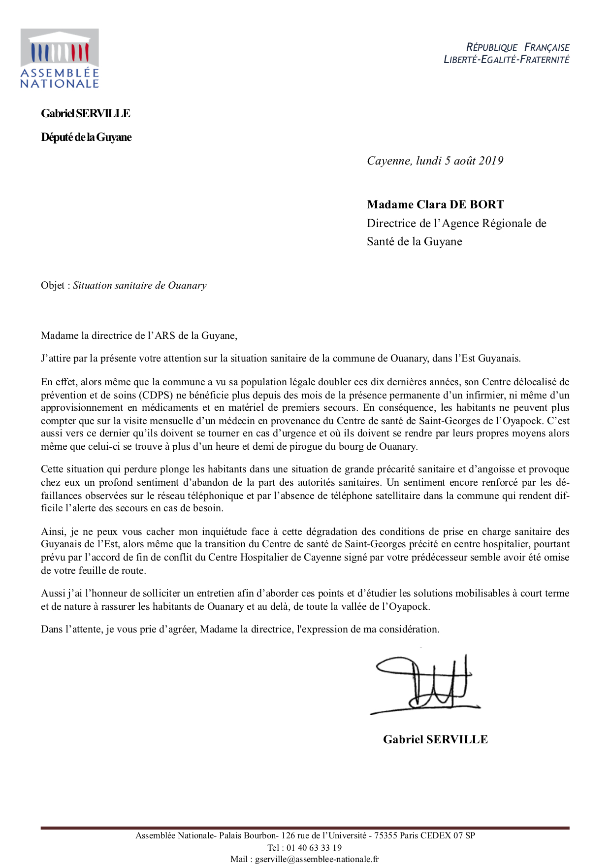 Courrier CDeBort Ouanary 5-8-19