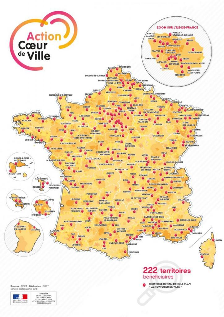 La carte des villes retenues par le programme «Action coeur de ville» © CGET